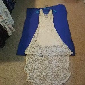 Cream lace hi-low Dress